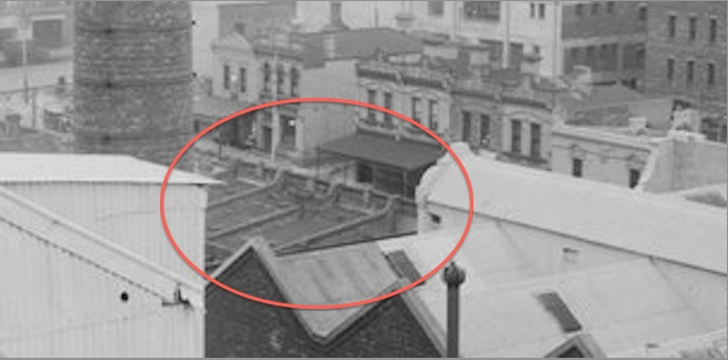 Image from CUB rooftop 1920s showing Swanston Street