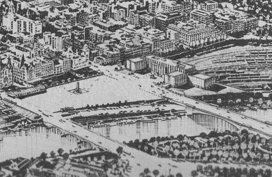 Neville Hollinshed's design for Melbourne rail yards.