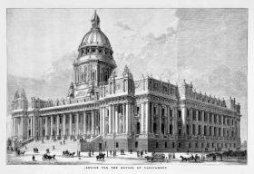 wikipedia image of parliament house victoria australia, with unbuilt dome.