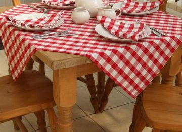 rotated gingham tablecloth