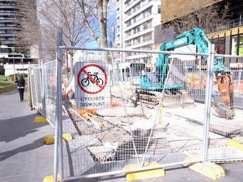 Bicycle lane being built on Swanston Street Melbourne